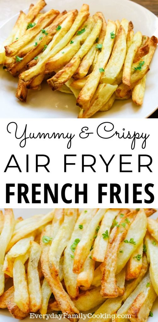 Title and Shown: Yummy and Crispy Air Fryer French Fries (on a white plate)