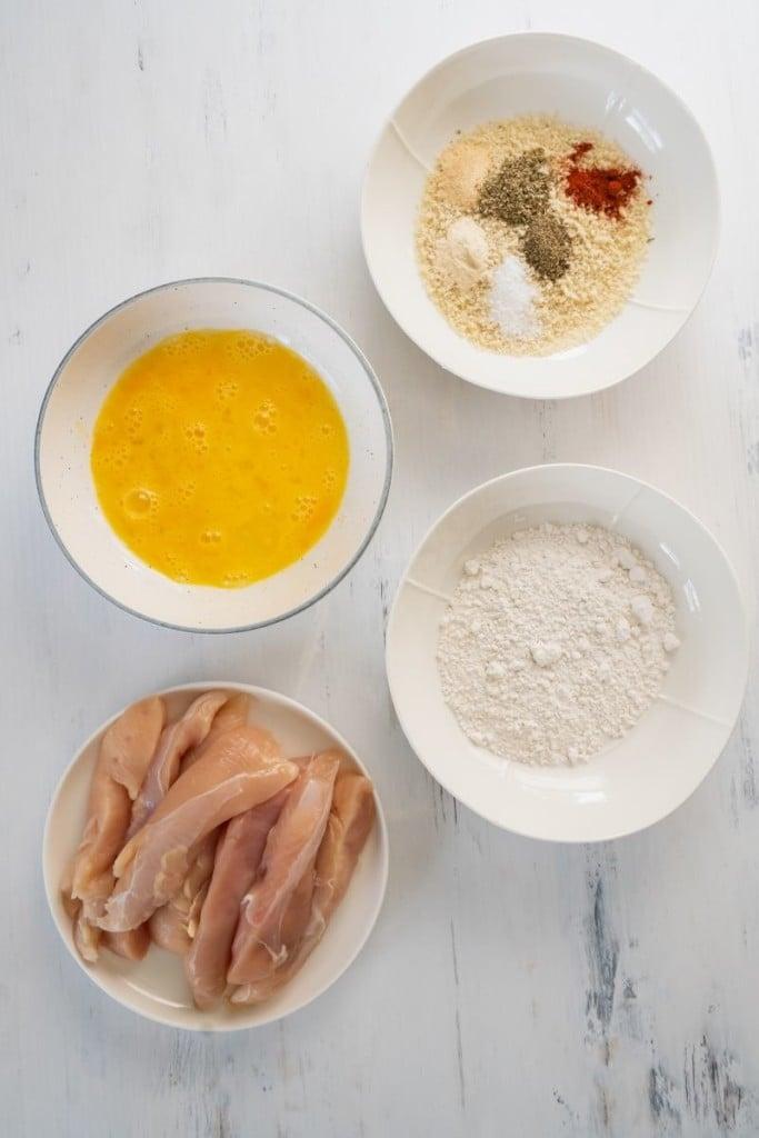 Ingredients needed to make air fryer chicken tenders with panko breadcrumbs