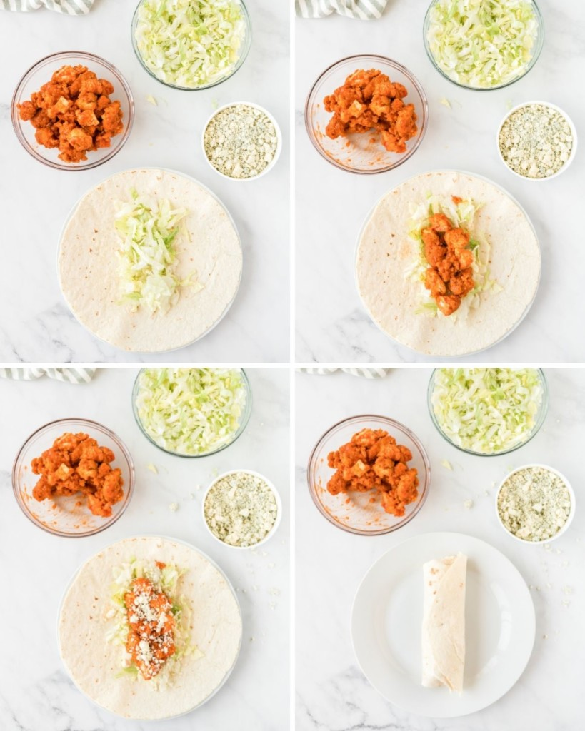Open tortilla with buffalo chicken, blue cheese, and lettuce