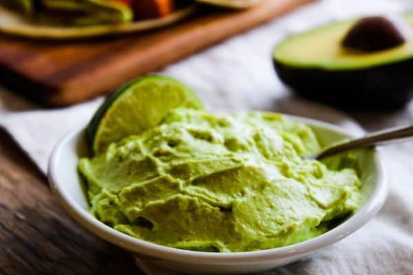 Avocado Crema Dip Served