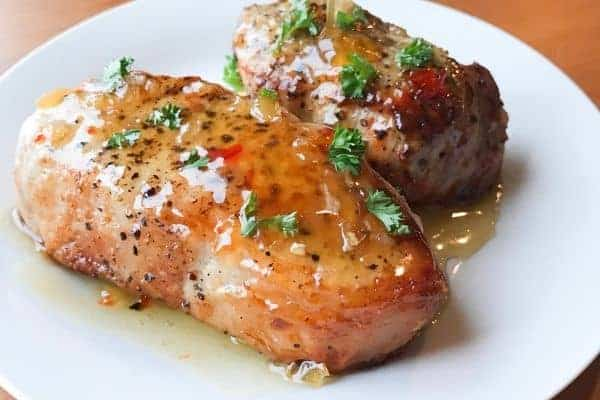 Honey Garlic Pork Chops on White Plate
