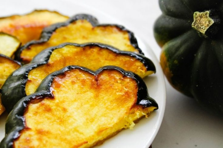 Air Fryer Winter Squash Slices on a white plate