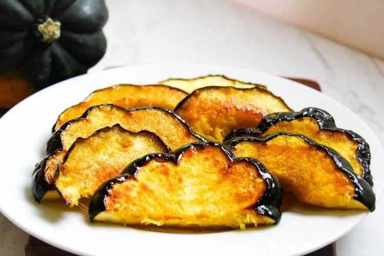 Maple Acorn Squash on a white plate