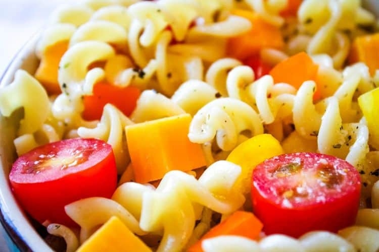 Closeup of Italian Pasta Salad No Meat