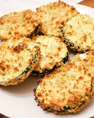 Air Fryer Zucchini Chips on Plate