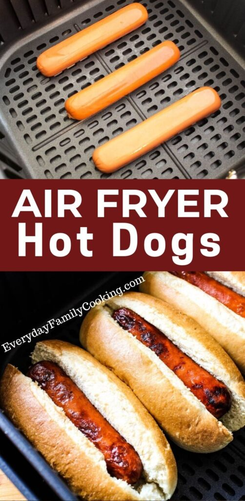 Title and Shown: Air Fryer Hot Dogs (inside an air fryer)