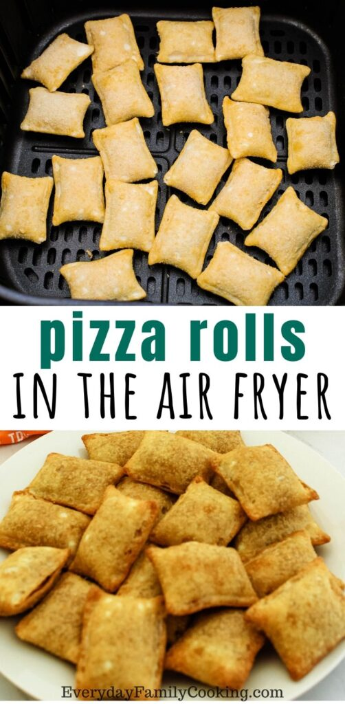 Title and Shown: Pizza rolls in the air fryer (inside air fryer and white plate)