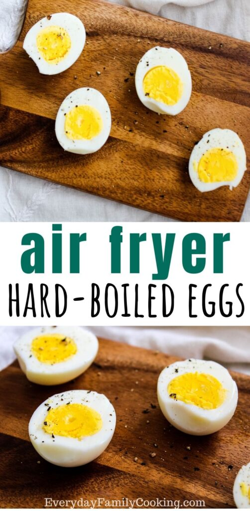Title and Shown: Air Fryer Hard Boiled Eggs (on cutting board)