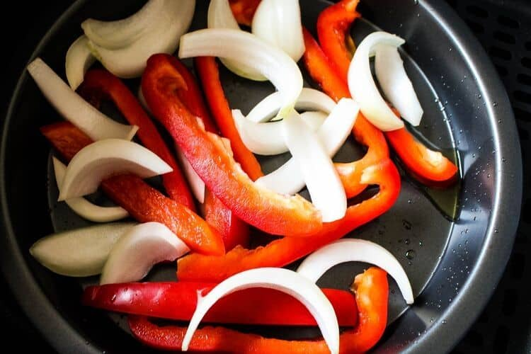 Red Peppers and Onions in Air Fryer