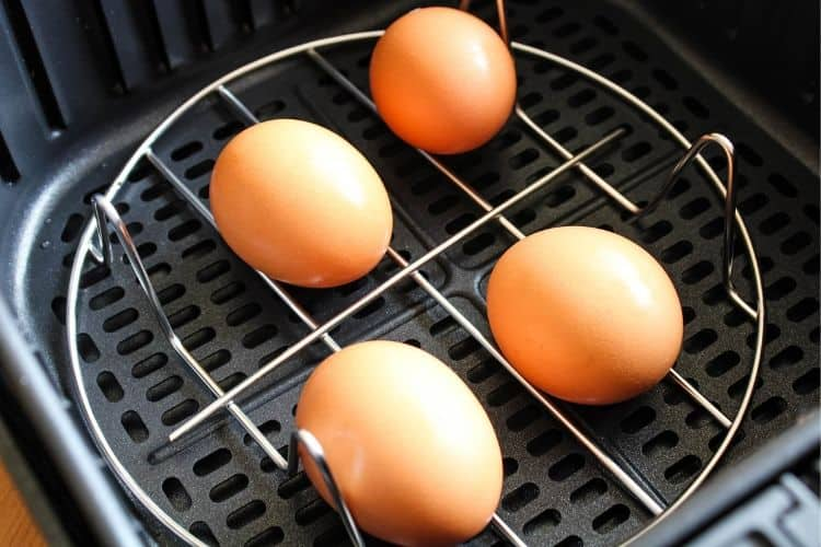 Eggs Inside Air Fryer on Rack