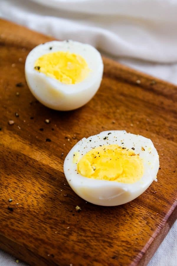 Hard Boiled Eggs Peeled and Halved
