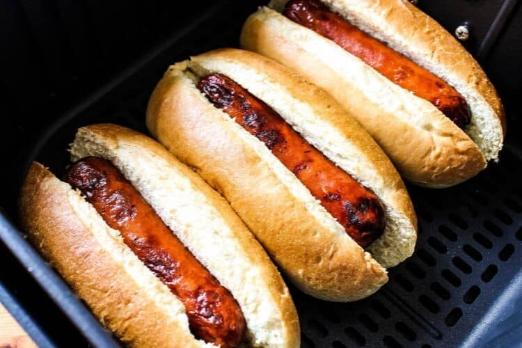 Hot Dogs in Buns inside Air Fryer