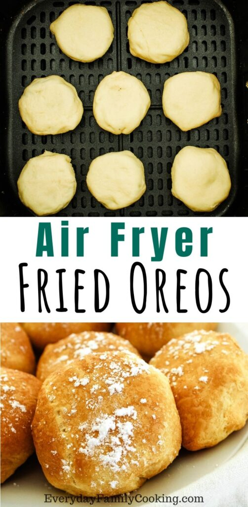Title and Shown: Air Fryer Fried Oreos (in air fryer and on a white plate)