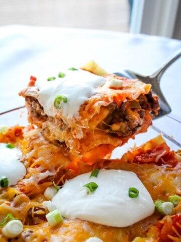 Cheesy Taco Lasagna with Noodles