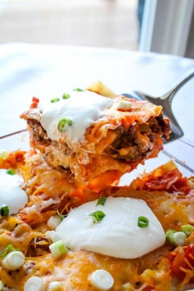 Cheesy Taco Lasagna with Noodles