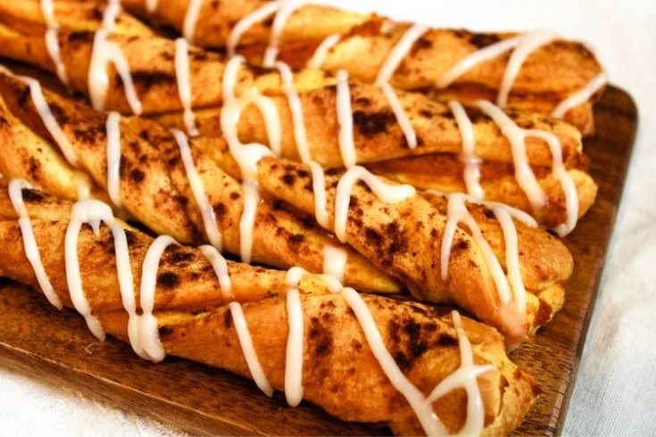Air Fryer Pumpkin Pie Twists on brown cutting board