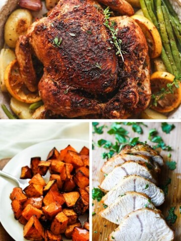 A collage of air fryer recipes (whole chicken on top, butternut squash on bottom left, and turkey tenderloin on bottom right)