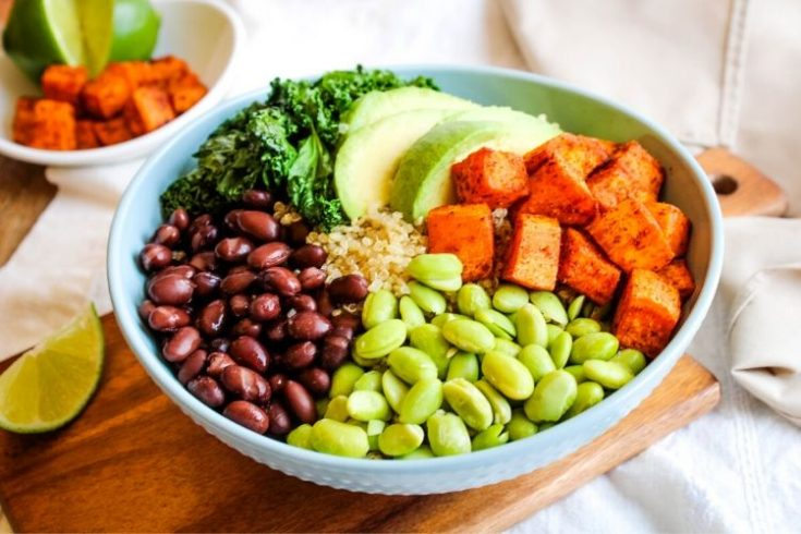 Sweet Potato Buddha Bowl in blue bowl with ingredients sectioned in circle
