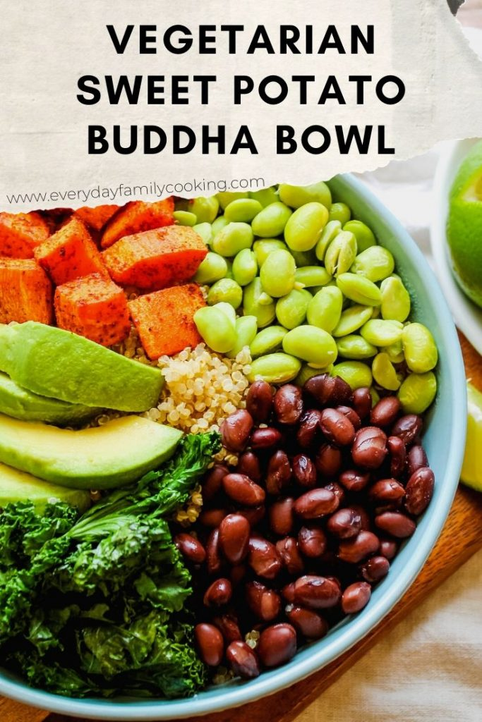 Title and Shown: Vegetarian Sweet Potato Buddha Bowl (in a blue bowl)