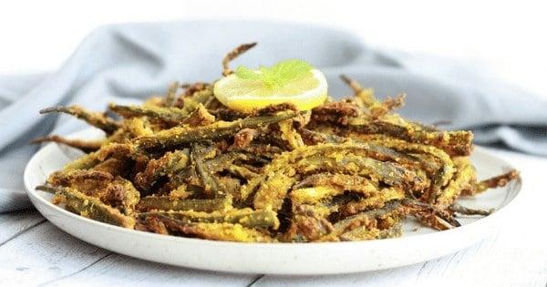 Air Fried Kurkuri Bhindi / Vegan Fried Okra