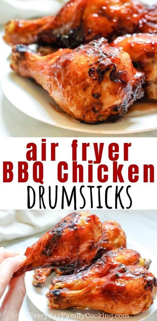 Title and Shown: Air Fryer BBQ Chicken Drumsticks