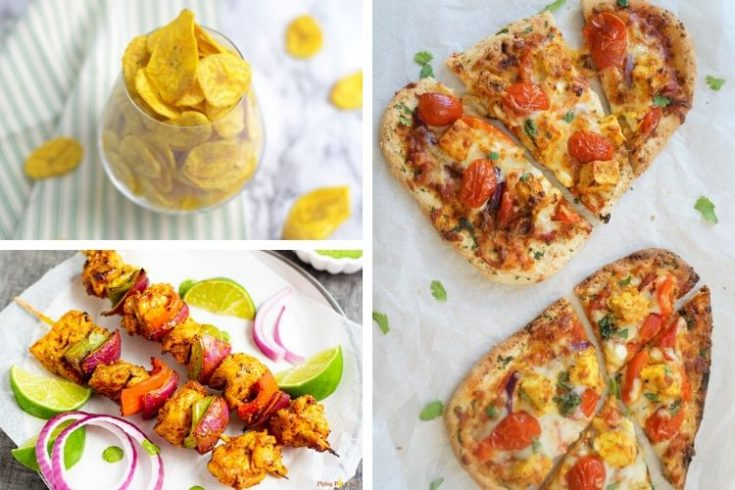 Collage of Air Fryer Indian Recipes (banana chips on top left, kabobs on bottom left, and naan on right)