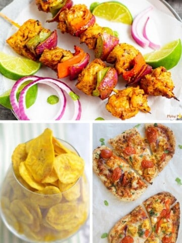 Collage of Air Fryer Indian Recipes (banana chips on bottom left, naan on bottom right, and kabobs on top)