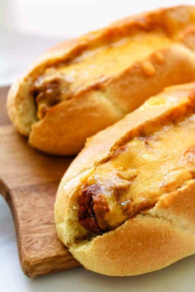 Air Fryer Chili Cheese Dogs