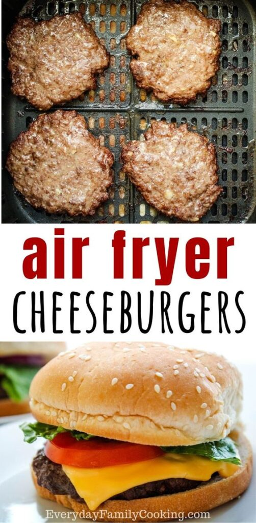 Title and Shown: Air Fryer Cheeseburgers (in air fryer and on plate)
