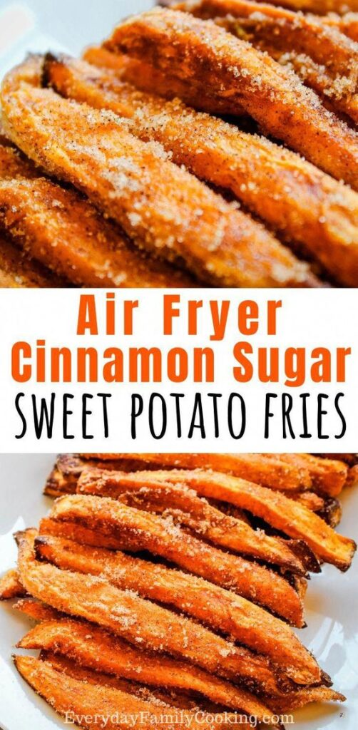Title and Shown: Air Fryer Cinnamon Sugar Sweet Potato Fries (on a white plate)