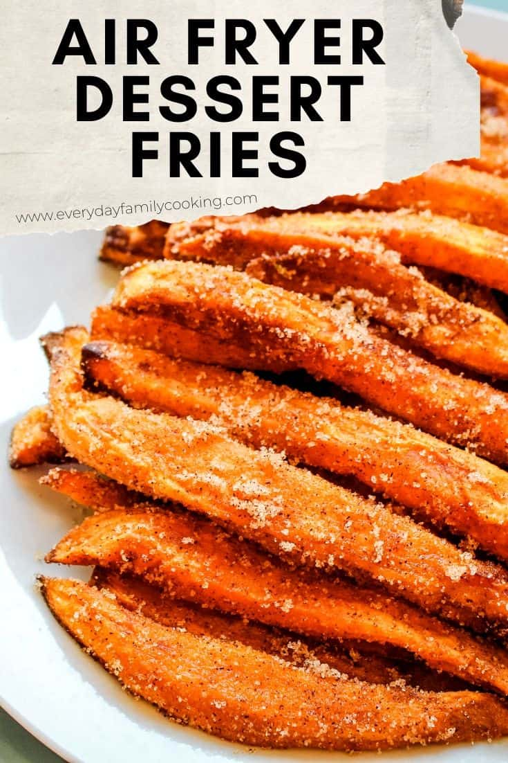 The best air fryer easy dessert recipe. These cinnamon sugar sweet potato fries are sweet and delicious. You can make these for one or for your entire family to eat up! #airfryer #airfryerrecipes #sweetpotatoes
