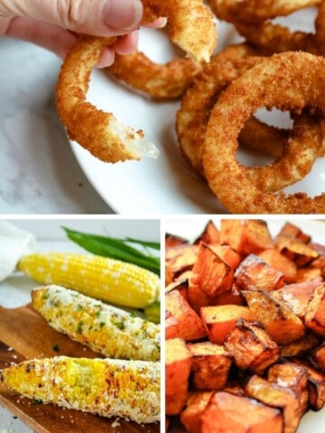 Air Fryer Veggies Collage (onion rings on top, corn on the cob on bottom left, butternut squash on bottom right)
