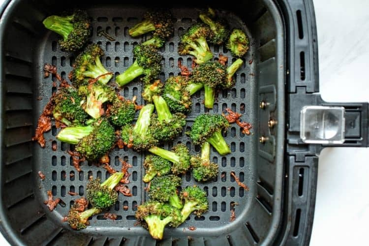 Cooked Broccoli Inside Air Fryer