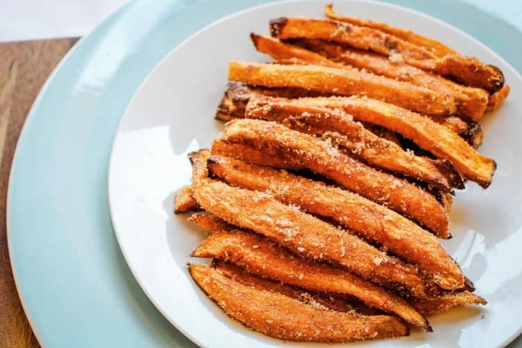 Sweet Potato Cinnamon Sugar Fries on Plate