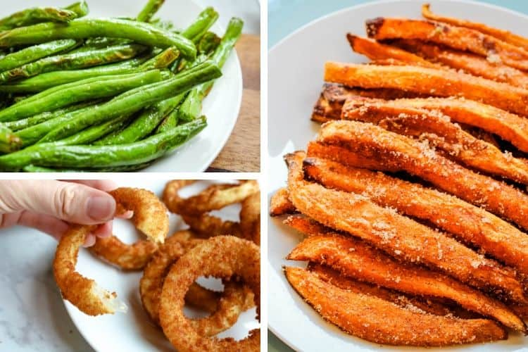 Collage of Air Fryer Vegetables (green beans on top left, onion rings on bottom left, and sugar sweet fries on right)