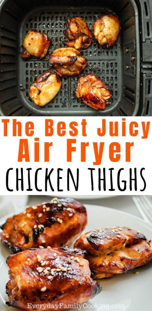 Title and Shown: The best juicy air fryer chicken thighs (in an air fryer and on a white plate)