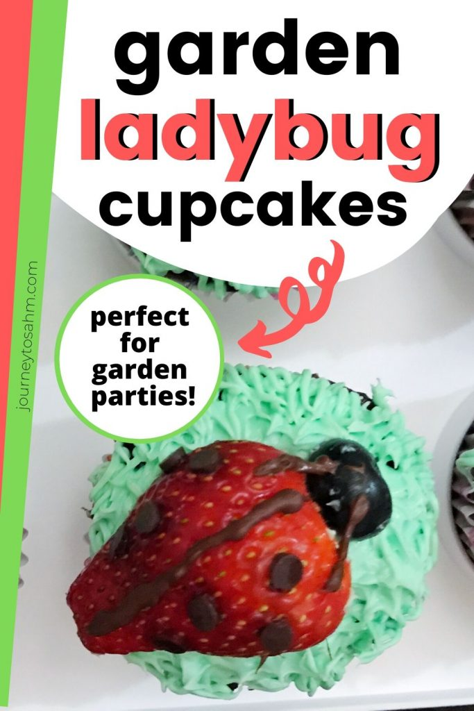 Title and Shown: Garden Ladybug Cupcakes; perfect for garden parties