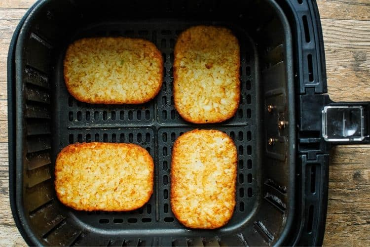Hash Brown Patties inside Air Fryer