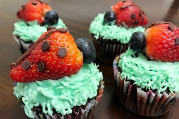 Ladybug Cupcakes on a brown table