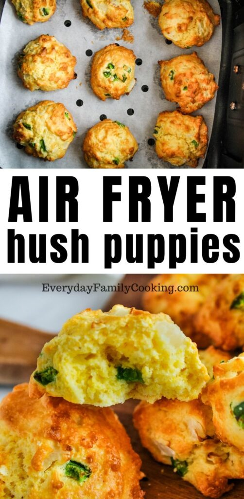 Title and Shown: Air Fryer Hush Puppies (in an air fryer and then bitten into)