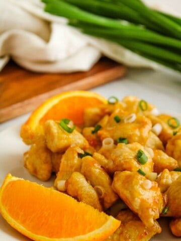Air Fryer Orange Chicken with Oranges and Green Onions