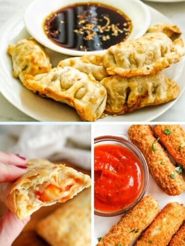Frozen Air Fryer Food collage (dumplings on top, hot pockets on bottom left, and mozzarella sticks on bottom right)
