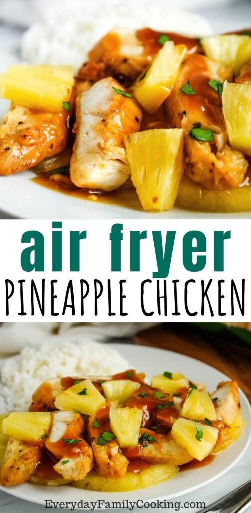 Title and Shown: Air Fryer Pineapple Chicken (on a white plate)