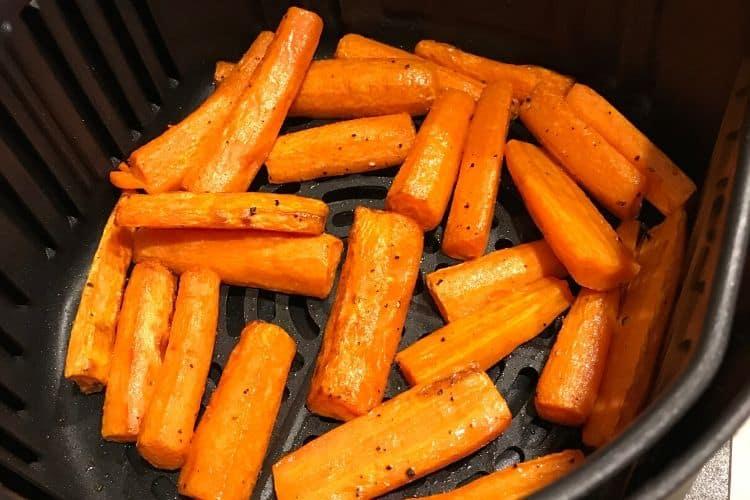 Carrots inside Air Fryer