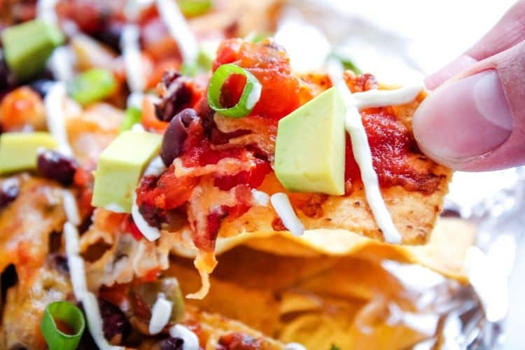 Closeup of Loaded Nachos