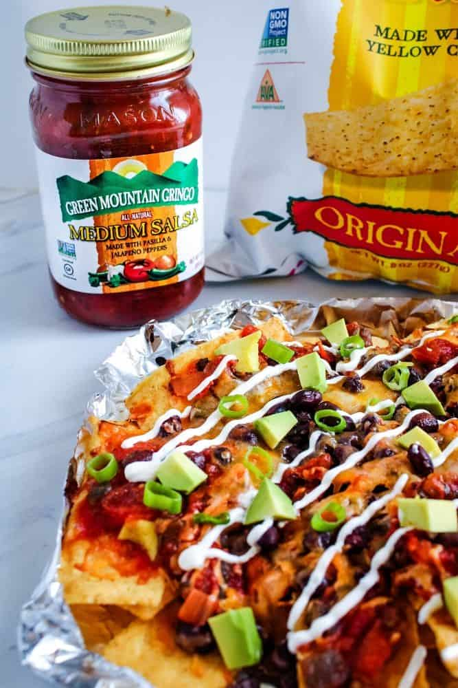 Air Fryer Nachos with Green Mountain Gringo salsa jar in the background