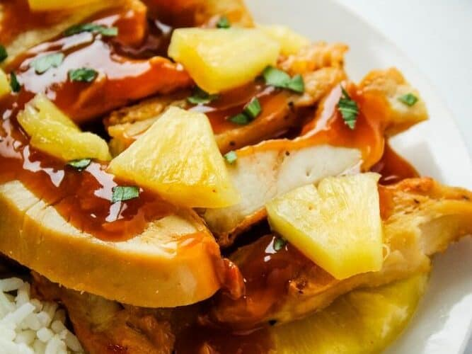 Pineapple Chicken with Pineapple Chunks