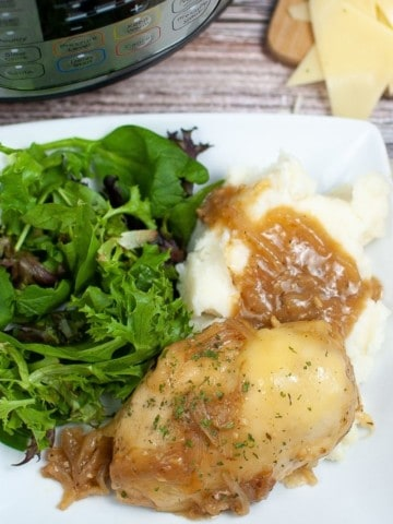 French Onion Chicken on a white plate