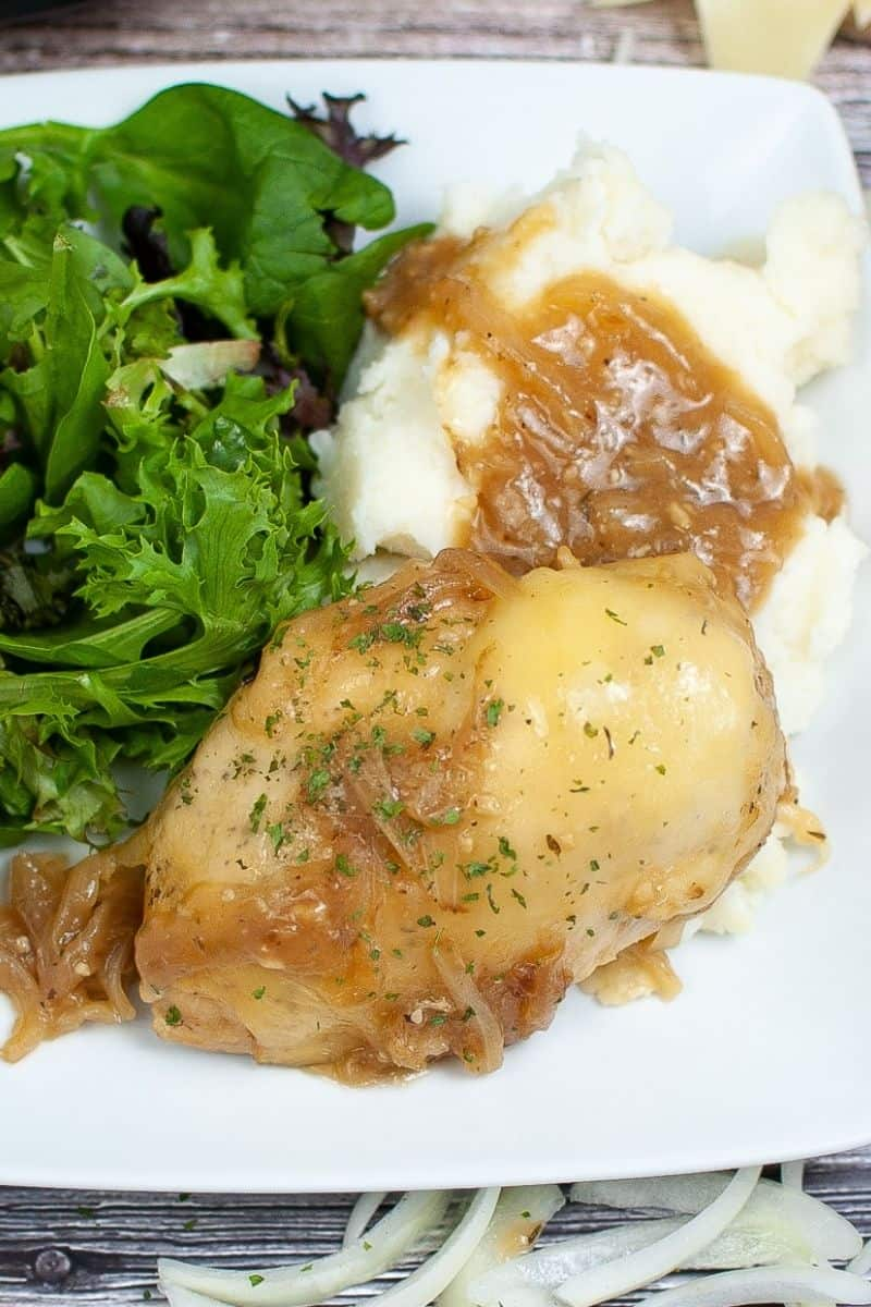 Closeup of French Onion Chicken
