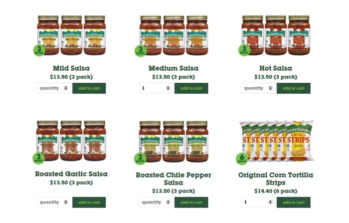 Screenshot of Green Mountain Gringo's website showing the salsa and nachos in shop
